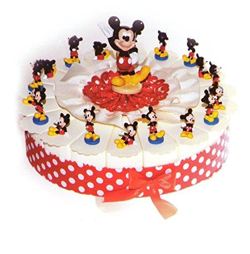Torta bomboniere 18 fette di torta con topolino in resina completo di confetti bianchi crispo al cioccolato