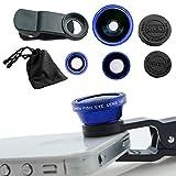 #7: Aja Retal Universal 3 in 1 Cell Phone Camera Lens Kit - Fish Eye Lens / 2 in 1 Macro Lens & Wide Angle Lens (Blue)