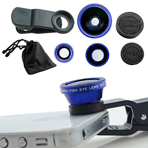Aja Retal Universal 3 in 1 Cell Phone Camera Lens Kit - Fish Eye Lens / 2 in 1 Macro Lens & Wide Angle Lens (Blue)