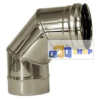 CHEMINEE PAROI SIMPLE TUYAU TUBE INOXIDABLE AISI 316 - dn 200 curva 90° canna fumaria tubo acciaio inox 316 parete semplice
