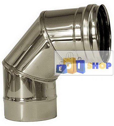 CHEMINEE PAROI SIMPLE TUYAU TUBE INOXIDABLE AISI 316 - dn 300 curva 90° canna fumaria tubo acciaio inox 316 parete semplice