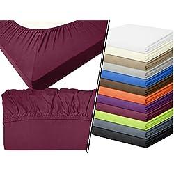 Jersey-Spannbetttuch in Top-Qualität - mit einer Steghöhe von ca. 35 cm - 100% Baumwolle - erhältlich in 6 verschiedenen Größen und 12 ausgesuchten Farben, 1 Stück - Jersey-Spannbetttuch ca. 90-100 x 200 cm, bordeaux