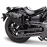 Borsa Cuoio Pelle Nera Mono Laterale Lato Sinistro Harley Davidson Sportster XL 883 1200 48 Nightster Iron Custom Low Super Low Roadster Forty Eight Seventy Two 48 72 Telaio Triangolare Porta Attrezzi Chiavi Documenti
