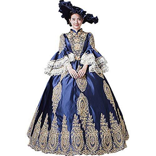 QAQBDBCKL 100 echte Blaue Spitze Rokoko Ballkleid mittelalterlichen Kleid Gericht Königin...