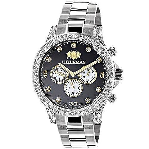 Mens LUXURMAN Diamond Watch 0.5ct Two Tone Liberty Swiss Movt