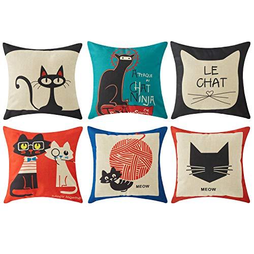 Top finel Hogar 6 Cojines gatos patrón lino algodón fundas almohada decorativa para camas sofás sillas cuadrado 45X45cm serie