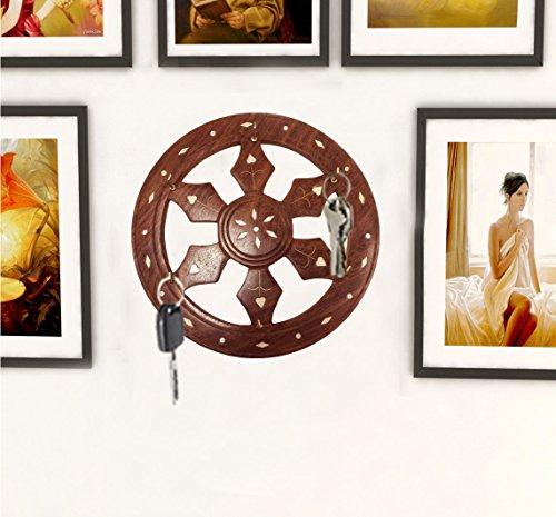 indiasbigshop regalo di giorno del padre Mano intagliato in legno 7inch Forma Ruota Portachiavi con Distressed Finish e Ottone di lavoro
