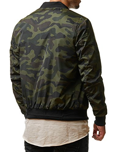 EightyFive Herren Jacke Übergangs Bomber Zipper Schwarz Khaki Camouflage EFS150 Camouflage Green