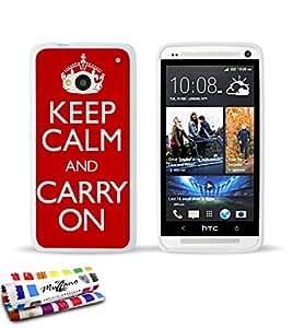 Originale Schutzschale von MUZZANO : Weiss, ultradünn und flexibel, mit Keep calm-Muster für HTC ONE / M7