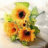 Doolland lovely artificiale girasole 1Bauquet falso reale fiore decorativo, decorazione per composizioni floreali fai da te Decorazione