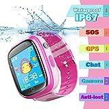 Montre Enfants Etanche IP67 Bracelet, 1,44' Touch GPS Tracker écran Tactile Smartwatch Phone Con Appareil Photo Touch SOS Alarme à Distance Les Filles garçons Cadeau d'anniversaire (Rosa)