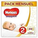 Huggies Newborn (Nouveaux-nés) - Couches Bébé Unisexe - Taille 2 (3-6 kg) x210 Couches - Pack 1 mois de Consommation