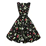 VEMOW Elegante Damen Ballkleid Vintage Floral Bodycon Sleeveless Cocktail Lässige Abendgesellschaft Prom Swing Dress(Schwarz, EU-38/CN-XL)