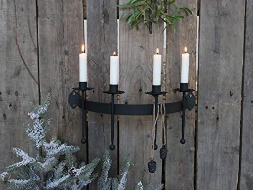 Kerzenhalter Wand Säule Wandkerzenhalter Leuchter Kerzenständer hängend für 4 Kerzen | für Stabkerzen Tafelkerzen | Vintage Landhaus Weihnachten Weihnachtskerzenhalter | Schwarz | L 41 cm B 23 cm H 18 cm