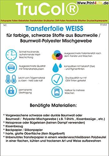 Inkjet Transferpapier zum aufbügeln auf dunkle farbige T-Shirts, DIN A4, 20 Blatt Transferfolie T-Shirtfolie WEISS für Baumwollstoffe und Bauwoll-Polyester-Mischgewebe