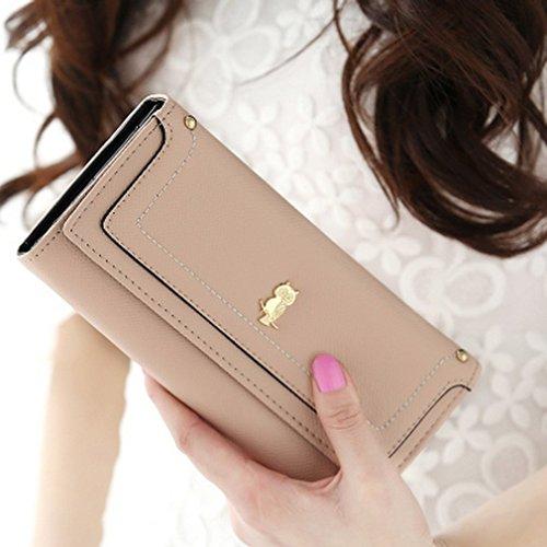 Swallow portafoglio lungo di slot multi-card civetta borsa portafoglio stratificato delle donne (Cachi) Cachi