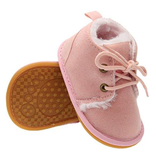 hibote Kinder Winter Warme Schuhe Gummisohle Prewalkers Plus Velvet Baby Kleinkind Stiefel Schuhe Rosa