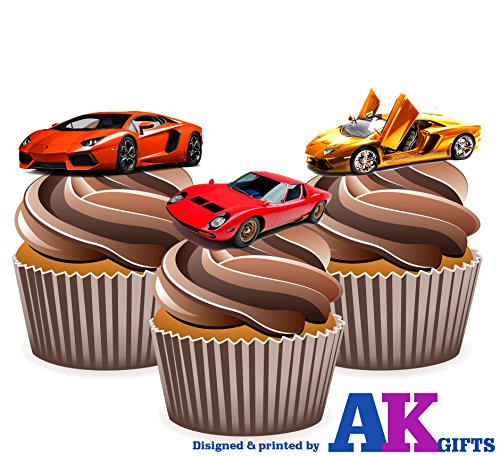 lamborghini-sports-car-mix-cake-decorations-12-edible-wafer-cup-cake-toppers