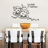 Noir Peint à la main croquis café PVC Wall Sticker pour la cuisine Home Decor Wall Art