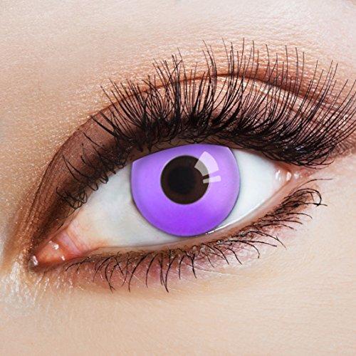 anga & Anime Kontaktlinse Violett Neon Nights -Deckende,farbige Jahreslinsen für dunkle und helle Augenfarben ohne Stärke,Farblinsen für Cosplay,Karneval, Halloween Kostüme (Halloween Zombie School Girl Kostüm)