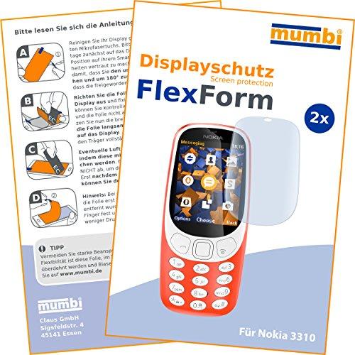 mumbi Flex Schutzfolie kompatibel mit Nokia 3310 Folie, Bildschirmschutzfolie (2x)