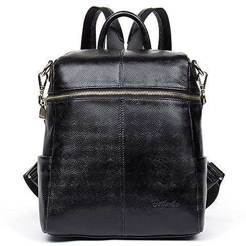 BOSTANTEN Women Genuine Leather Backpack Purse Rucksack School Shoulder Travel Bag Black