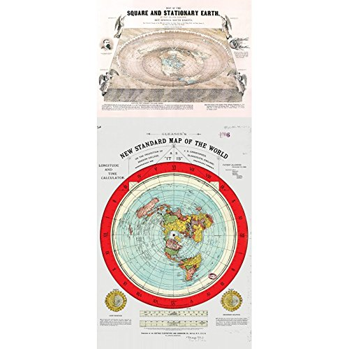 Mapa tierra plana - Flat Earth Maps SET OF 2 MAPS-