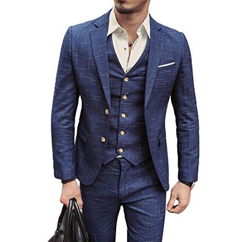 Traje de hombre Slim fit con un sólo botón solapa ropa chaqueta chaleco & pantalón para Boda/Fiesta/Negocio (Azul, L)