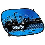 Auto-Sonnenschutz mit Namen Klaus und schönem Motiv mit City-Skyline in der Farbe Blau für Jungen | Auto-Blendschutz | Sonnenblende | Sichtschutz