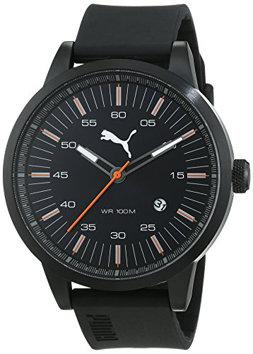 Puma PU103641003 - Reloj de cuarzo para hombre, con correa de plástico, color negro