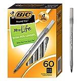 BIC Round Stic Xtra Life Kugelschreiber, Mittelgroße Spitze 60 count Schwarz