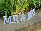 Zeremonie Hochzeit Deko Holz PVC MR & MRS Buchstabe, holz, weiß, 12cm height