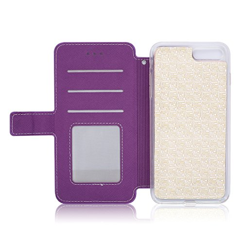 Custodia per Apple iPhone 7 Plus, ISAKEN iPhone 7 Plus Flip Cover con Strap, Elegante Sbalzato Embossed Design in Pelle Sintetica Ecopelle PU Case Cover Protettiva Flip Portafoglio Case Cover Protezio Vine: violet