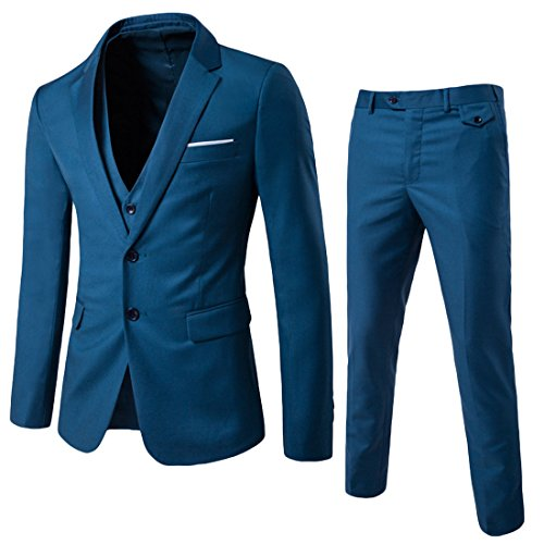 Herren 3-Teilig Anzug Slim Fit Zwei Knöpfe Anzughose Anzugweste von Allthemen Blau Medium (2-knopf-smoking)