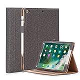 HeFFuny Hülle kompatibel für iPad 9.7 Zoll 2017/ 2018, iPad Air 2, iPad Air, PU Leder Case Cover Halter Tasche Etui Schutzhülle mit Stifthalter 3 Betrachtungswinkel, Grau