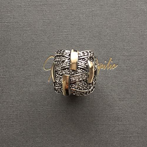 Grazia P. Breiter Damen-Ring 585er Gelbgold und Sterling Silber mit Micro Pave Zirkonia Bicolor, Bimetall, Handgefertigt