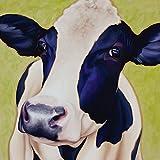 Artland Qualitätsbilder I Bild auf Leinwand Leinwandbilder Wandbilder 60 x 60 cm Tiere Haustiere Kuh Mixed Media Grün A3MU Kuh Paula