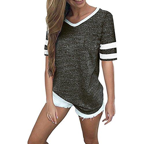 Momoxi Damen Sommer Casual V-Ausschnitt Kurzschluss Hülsentaschen Bluse übersteigt T-Shirt Top Shirt Dunkelgrau XL -