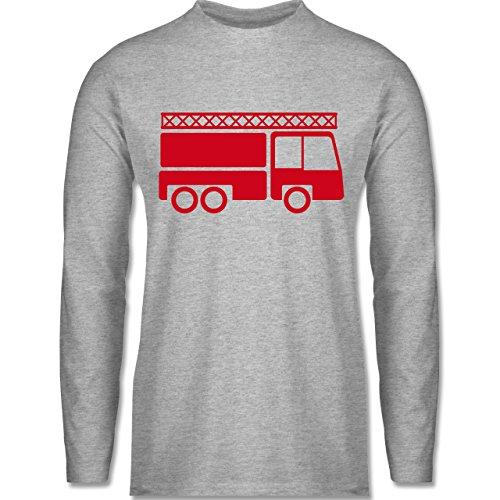 Feuerwehr - Feuerwehrauto - Longsleeve / langärmeliges T-Shirt für Herren Grau Meliert