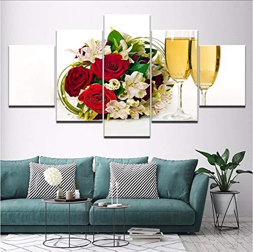 shuyinju (Kein Rahmen) Leinwand Malerei Brautstrauß Und Champagner 5 Stücke Wandkunst Malerei Modulare Tapeten Poster Print Wohnzimmer Home Decor
