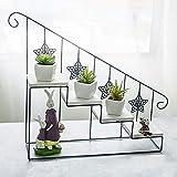 TQ 2Pcs American Retro Schmiedeeiserne Holztreppe Blume Stand Mehrschichtige Boden Topf Rack Indoor Wohnzimmer Kleine Topf Gestell