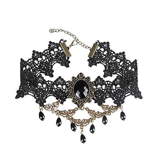 Ofgcfbvxd-wj Vintage Schlüsselbein Choker Halskette Vintage Prinzessin Spitze Halskette Gothic Choker Anhänger Für Frauen Lady (Alte Lady Vampir Kostüm)