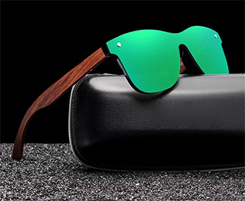 AOCCK Sonnenbrillen,Brillen, Bubinga Wooden Men's Sunglasses Women Polarized Retro Rimless Green Mirror Lens Sun Glasses Handmade Driving Eyewear With Leather Case Black