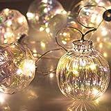 ITART Klar Weihnachtskugeln Lichterketten Beleuchtete Kugel Garland Dekorationen LED Lichterketten Batteriebetrieben für Hochzeit Weihnachtsbaum Mantel Schlafzimmer Fenster Dekor (Multi)