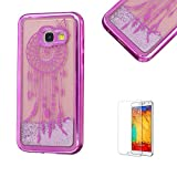 For Samsung Galaxy A3(2017 Model) Case A320 Cover, Funyye New Creative Floating Water Liquid Small Love Hearts Design Luxury Sparkly Lovely (Pink) Electroplate Plating Frame Crystal Design for Samsung Galaxy A3(2017 Model)- Dreamcatcher