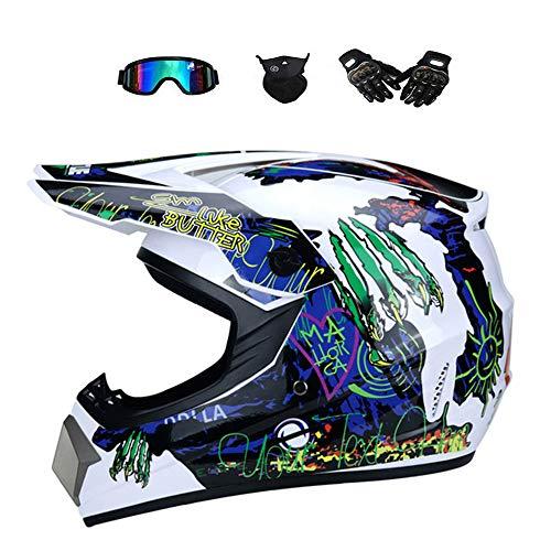 Größe: L 57-58cm, Motocross Helm Damen mit Brille UV Sschutz Handschuhe Maske, Sommer/Winter Motorradhelm für Quad ATV Enduro Downhill Helm,S(52~54CM) ()