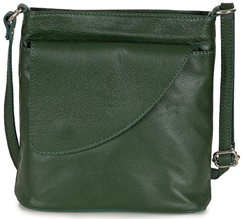 Taschenloft kleine Damen Umhängetasche I Schultertasche aus Leder (18 x 19 x 7 cm) Dunkelgrün
