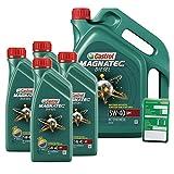 4x 1 L + 5 L = 9 Liter Castrol Magnatec Diesel 5W-40 DPF Motor-Öl inkl. Ölwechsel-Anhänger