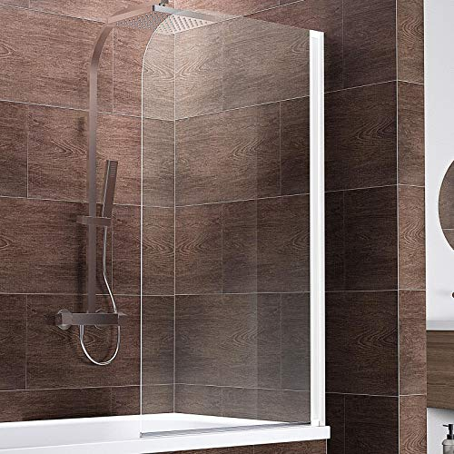 Schulte Duschwand Komfort zum Kleben, kein Bohren in Fliese notwendig, 80 x 140 cm, 5 mm Sicherheitsglas klar hell, alpinweiß, Duschabtrennung für Badewanne