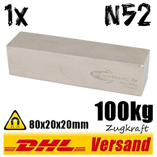 Neodym Magnet 80x20x20mm 100kg hohe Zugkraft N52 super Industriemagnet Permanentmagnet vernickelt
